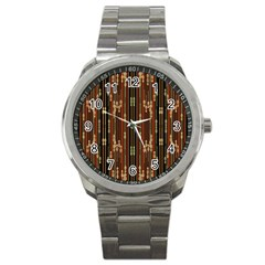Floral Strings Pattern  Sport Metal Watch