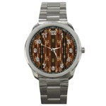 Floral Strings Pattern  Sport Metal Watch Front