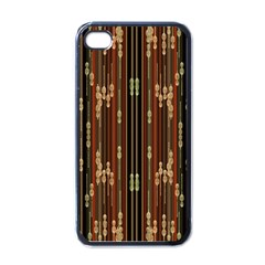 Floral Strings Pattern  Apple iPhone 4 Case (Black)