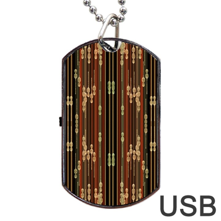 Floral Strings Pattern  Dog Tag USB Flash (Two Sides)