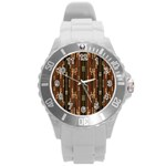 Floral Strings Pattern  Round Plastic Sport Watch (L) Front