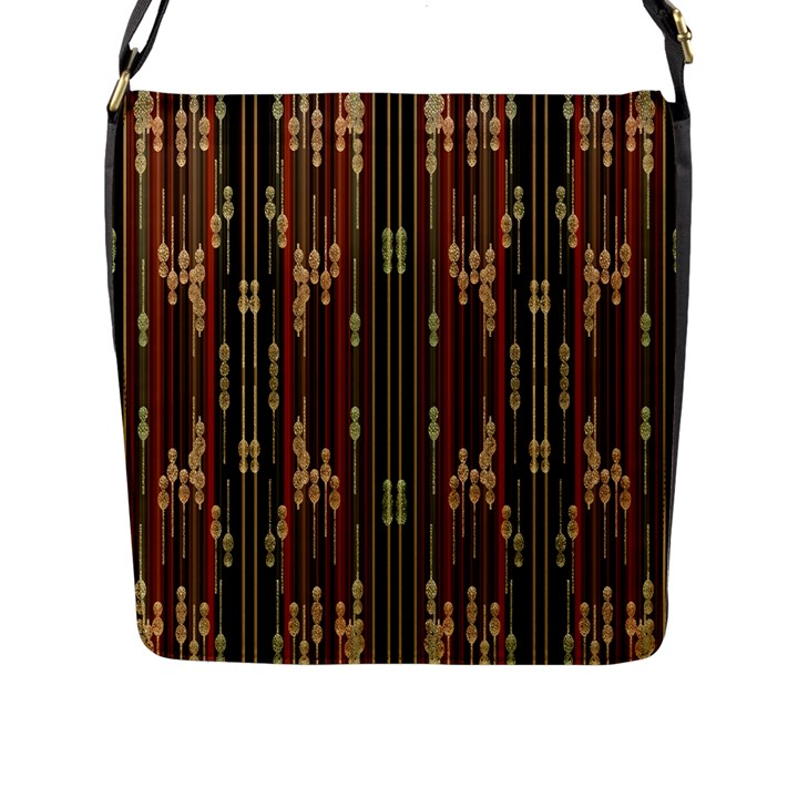 Floral Strings Pattern  Flap Messenger Bag (L)