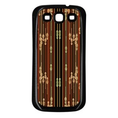 Floral Strings Pattern  Samsung Galaxy S3 Back Case (Black)