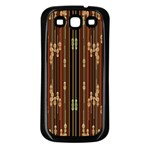 Floral Strings Pattern  Samsung Galaxy S3 Back Case (Black) Front