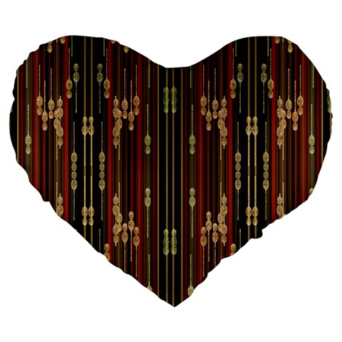 Floral Strings Pattern  Large 19  Premium Flano Heart Shape Cushions