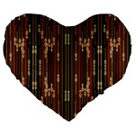Floral Strings Pattern  Large 19  Premium Flano Heart Shape Cushions Front