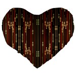 Floral Strings Pattern  Large 19  Premium Flano Heart Shape Cushions Back