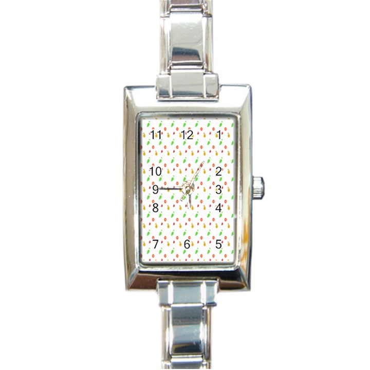 Fruit Pattern Vector Background Rectangle Italian Charm Watch