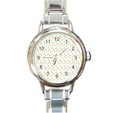 Fruit Pattern Vector Background Round Italian Charm Watch
