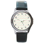 Fruit Pattern Vector Background Round Metal Watch Front