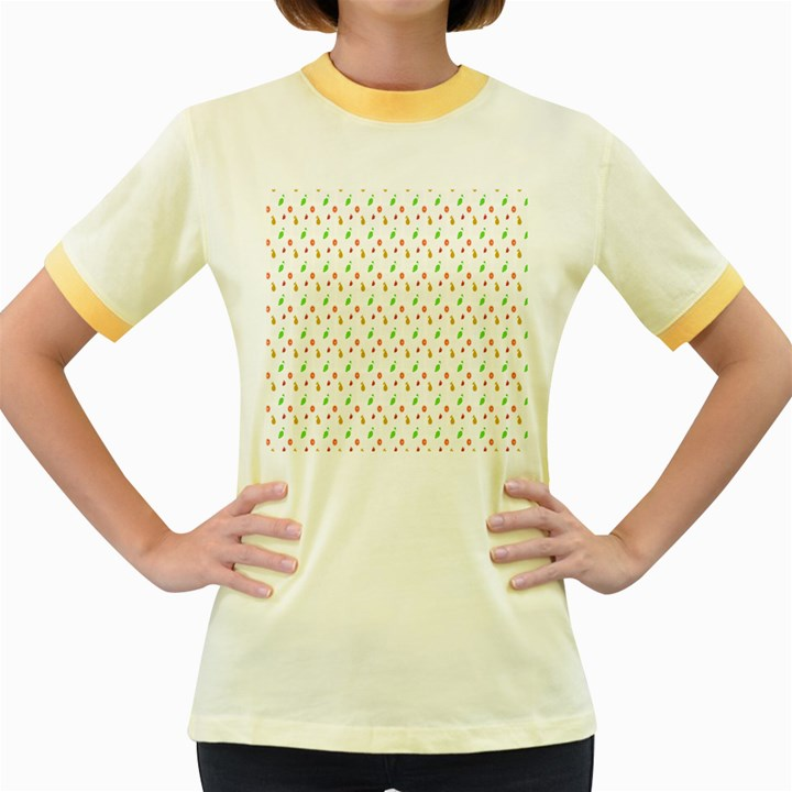 Fruit Pattern Vector Background Women s Fitted Ringer T-Shirts