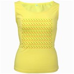 Fruit Pattern Vector Background Women s Yellow Tank Top Front