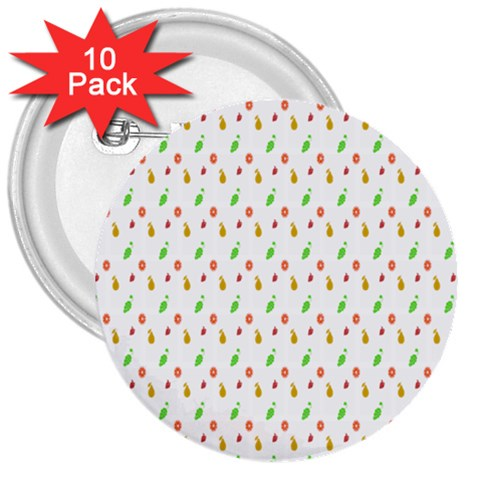 Fruit Pattern Vector Background 3  Buttons (10 pack)