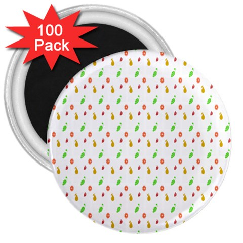 Fruit Pattern Vector Background 3  Magnets (100 pack)