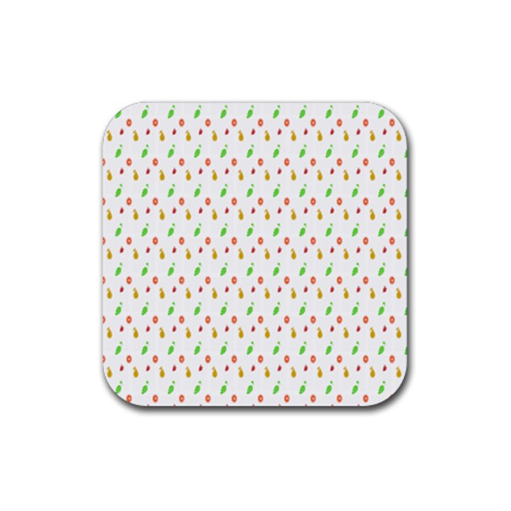 Fruit Pattern Vector Background Rubber Square Coaster (4 pack)