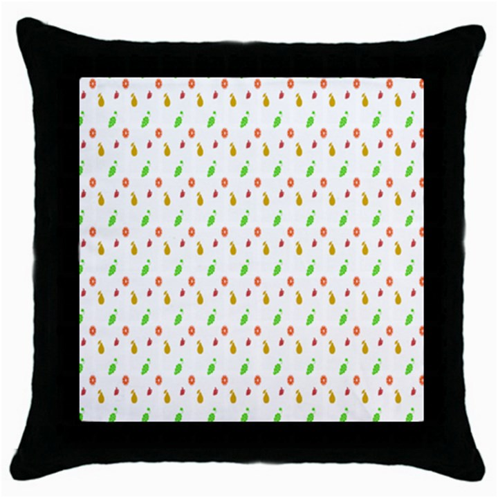 Fruit Pattern Vector Background Throw Pillow Case (Black)