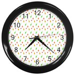 Fruit Pattern Vector Background Wall Clocks (Black) Front