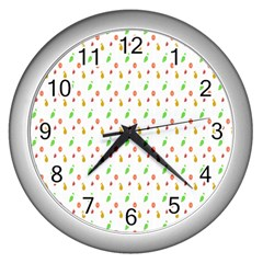 Fruit Pattern Vector Background Wall Clocks (Silver)