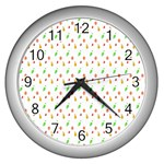 Fruit Pattern Vector Background Wall Clocks (Silver)  Front