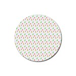 Fruit Pattern Vector Background Rubber Coaster (Round)  Front