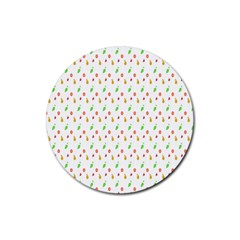 Fruit Pattern Vector Background Rubber Round Coaster (4 pack)
