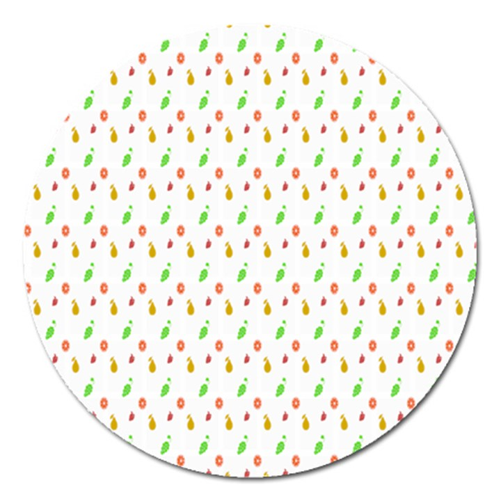 Fruit Pattern Vector Background Magnet 5  (Round)