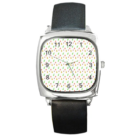 Fruit Pattern Vector Background Square Metal Watch