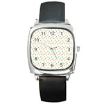 Fruit Pattern Vector Background Square Metal Watch Front