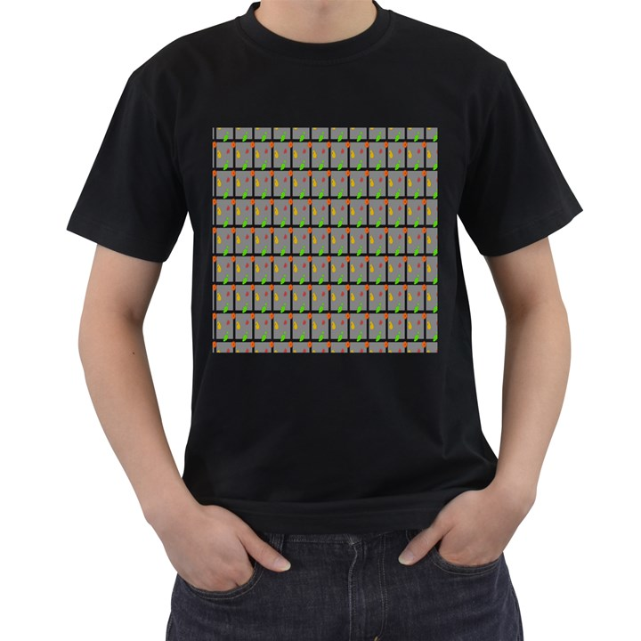 Fruit Pattern Vector Background Men s T-Shirt (Black) (Two Sided)