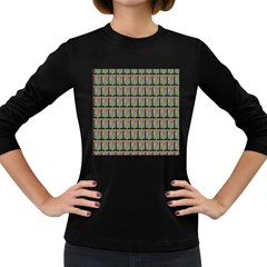 Fruit Pattern Vector Background Women s Long Sleeve Dark T-Shirts