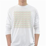 Fruit Pattern Vector Background White Long Sleeve T-Shirts Front