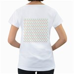 Fruit Pattern Vector Background Women s Loose-Fit T-Shirt (White) Back