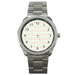 Fruit Pattern Vector Background Sport Metal Watch Front