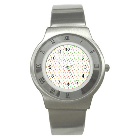 Fruit Pattern Vector Background Stainless Steel Watch