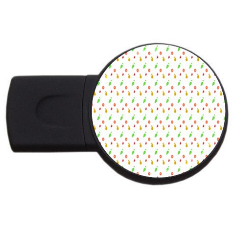Fruit Pattern Vector Background USB Flash Drive Round (4 GB)