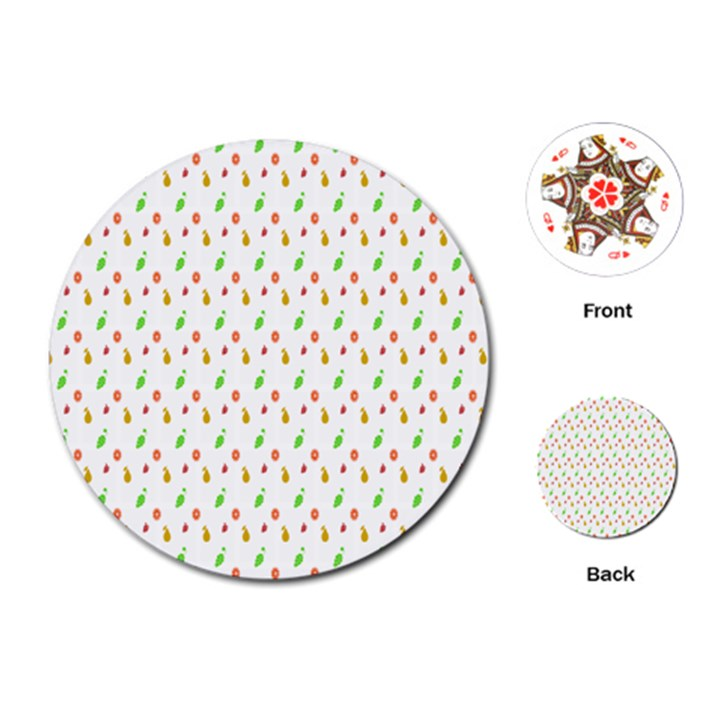 Fruit Pattern Vector Background Playing Cards (Round)