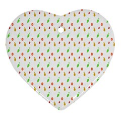 Fruit Pattern Vector Background Heart Ornament (2 Sides)