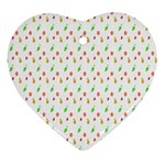 Fruit Pattern Vector Background Heart Ornament (2 Sides) Front