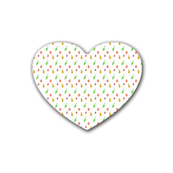 Fruit Pattern Vector Background Rubber Coaster (Heart)