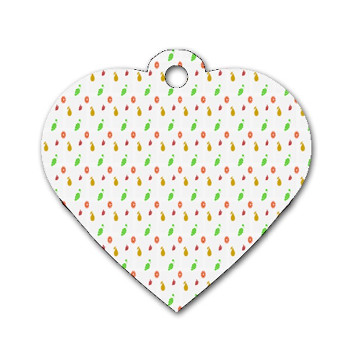 Fruit Pattern Vector Background Dog Tag Heart (Two Sides)