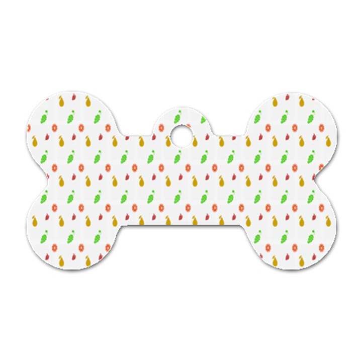 Fruit Pattern Vector Background Dog Tag Bone (Two Sides)