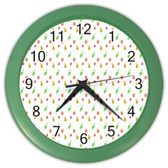 Fruit Pattern Vector Background Color Wall Clocks