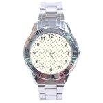 Fruit Pattern Vector Background Stainless Steel Analogue Watch Front