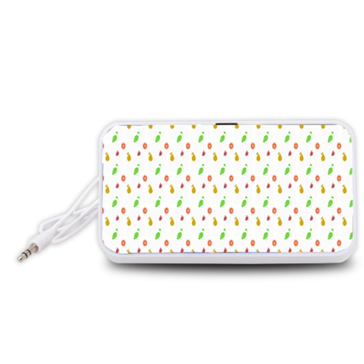 Fruit Pattern Vector Background Portable Speaker (White)