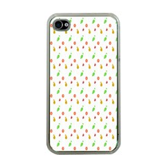 Fruit Pattern Vector Background Apple iPhone 4 Case (Clear)