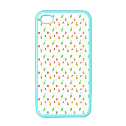 Fruit Pattern Vector Background Apple iPhone 4 Case (Color)