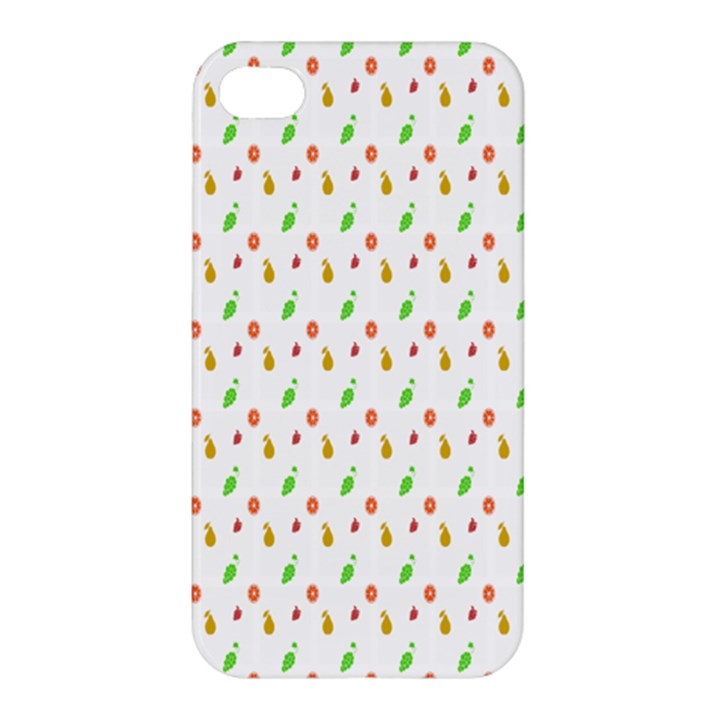 Fruit Pattern Vector Background Apple iPhone 4/4S Premium Hardshell Case