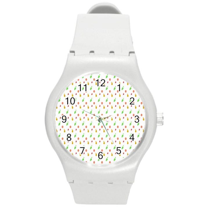 Fruit Pattern Vector Background Round Plastic Sport Watch (M)