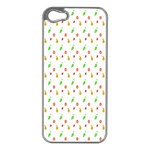 Fruit Pattern Vector Background Apple iPhone 5 Case (Silver) Front