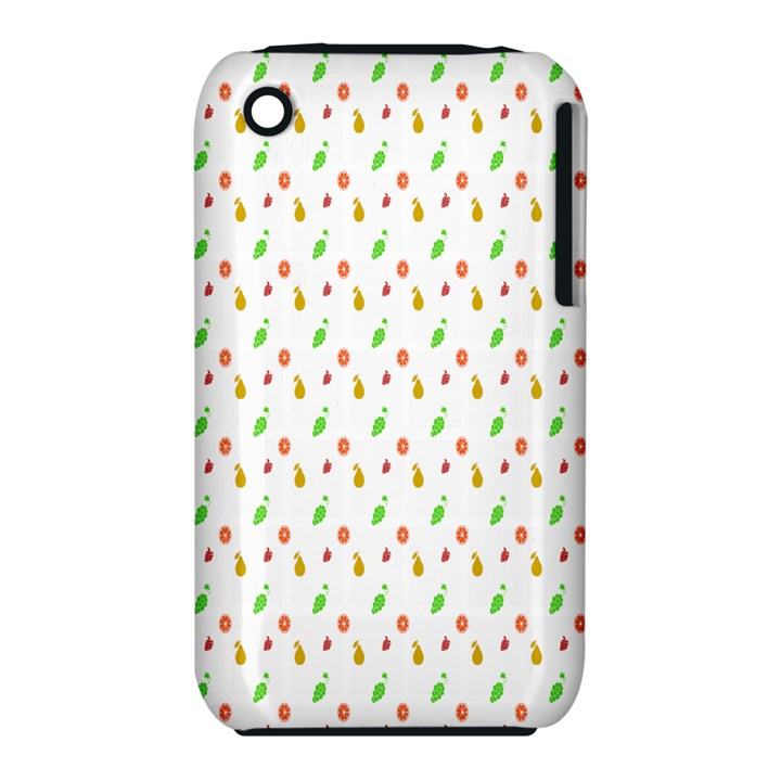 Fruit Pattern Vector Background Apple iPhone 3G/3GS Hardshell Case (PC+Silicone)